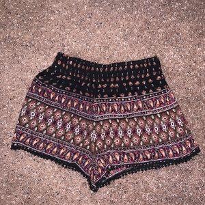 Flowy print cloth material shorts